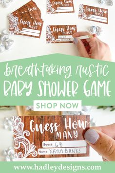 If you want a memorable party game, floral rustic baby shower guessing game jar cards are for you; lace guess how many candy in the jar cards, best bridal shower game baby shower decorations for girl baby gender reveal party supplies kit vintage barn simple white guess how many bridal shower games for guests wood lights baby shower games to play woman country guess how many kisses game man kraft gender reveal games for party boy baby shower ideas gender neutral kids birthday party games for kids Gender Reveal Games, Gender Reveal Party Supplies, Baby Gender Reveal Party, Gender Neutral Baby Shower, Bridal Shower Games, Baby Shower Games, Baby Boy Shower, Baby Sprinkle Games, Baby Shower Guessing Game