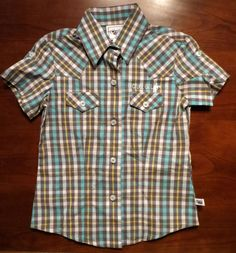 CRUEL GIRL COWGIRL WESTERN SHIRT GRAY BLUE PLAID S/S GIRL large 10 NWT $34 #cruelgirl