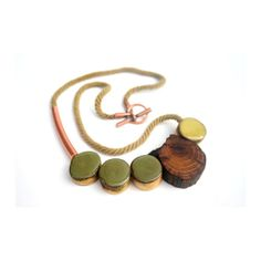 Green jewelry / natural / repurposed / eco friendly / tribal jewelry / Green with Envy necklace, raw pine, resin coated hand painted wood, copper tube, rope and copper toggle / statement necklace