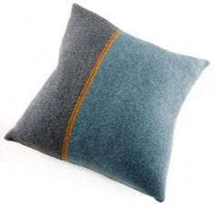 Katie Mawson striped grey blue wool cushions | Made in UK