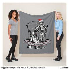 Happy Holidays From R2-D2 & C-2PO Fleece Blanket Star Wars Store, Star Wars Christmas, Santa Claus Hat, Reindeer Antlers, Fight For Freedom, R2 D2, Vintage Holiday, Party Hats, Happy Holidays