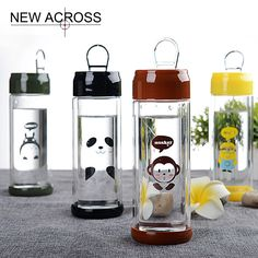 Gohide 1Pcs Double-Layer Glass Transparent Cans Cut Cartoon Children Student Water Bottle Advertising Gifts Customized In Bulk
