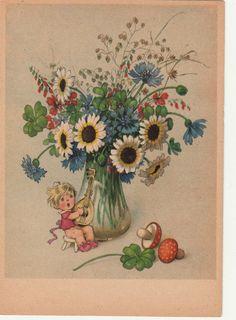 AK Kinder Fritz Baumgarten ? Junge mit Mandoline Blumenvase Glücksklee   eBay