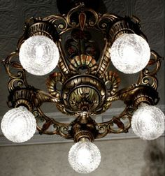 RARE 1930s Cast Iron Vintage Art Deco Ceiling 5 Bulb Light Fixture Chandelier | eBay