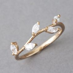 CZ Rose Gold Olive Leaf Ring Band - I like this