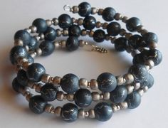 Cool Vintage Look - Matte Blue/Gray Crackled Silver Oval Memory Wire Bracelet by VineDesignBeads. Visit me on Etsy!