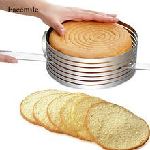 Facemile 1PCS Stainless Round Cutter Ring Tools Cake Cutters Fondant Tools Adjustable Cake Leveler Slicer Cake Layered Mould(China)