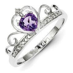 Sterling Silver Rhodium Plated Diamond & Amethyst Teardrop Ring, Size 6 Shop4Silver,http://www.amazon.com/dp/B00EG9EFAC/ref=cm_sw_r_pi_dp_vgd-sb07T6SRXJS5