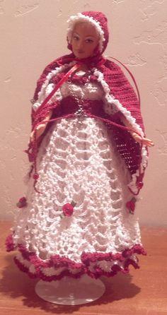 OOAK, Renassaince, Crochet, Barbie Doll, Handmade, Victorian, Red, Ren-Fair,