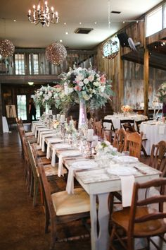 white washed reception tables