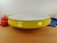 "Dansk Denmark 13.5"" Paella Pan Buffet Server - Yellow/White Enamel Steel Quistgaard - Ducks/Swans"