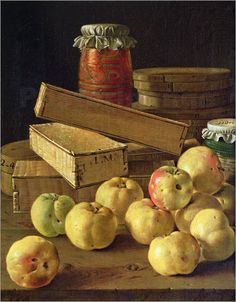Still life with apples, pots of jam and boxes of cake: Poster & Kunstdruck von Luis Egidio Melendez