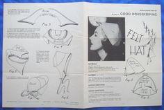 vintage Good Housekeeping FELT HAT millinery accessory sewing pattern   eBay