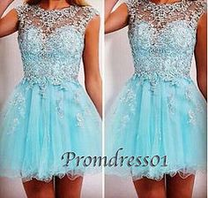 #promdress01 prom dresses - 2015 cute see through round neck ice blue tulle short beaded prom dress for teens, ball gown, occasion dress #prom2k15 #promdress -> http://www.promdress01.com/#!product/prd1/4057624421/round-neck-iceblue-tulle-short-beaded-prom-dresses