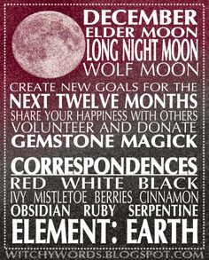 Witchy Words: December. Long Night Moon #Shamanism #Paganism