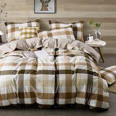 HIGHBUY Geometric Grid Print Bedding Set Full Washed Cotton 3 Piece Duvet Cover Set with Zipper Closure Coffee Khaki Plaid Pattern Comforter Cover