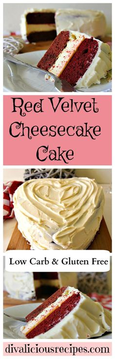A red velvet cheesecake cake recipe that is low carb and gluten free. This red velvet cheesecake cake recipe is the ultimate dessert recipe. Low Carb Sweets, Low Carb Desserts, Gluten Free Desserts, Weight Watcher Desserts, Cupcake Recipes, Dessert Recipes, Red Velvet Cheesecake Cake, Velvet Cake, Bolos Low Carb