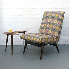 Vintage Parker Knoll Chair in Lollipops fabric. The chair has been professionally reupholstered with a complementary plain on the back. The Lollipop linen is printed in the UK by Annabel Grey. from Winter's Moon online. Lounge Furniture, Retro Furniture, Mid Century Modern Furniture, Upholstered Furniture, Find Furniture, Home Furniture, Furniture Design, Parker Knoll Chair, Knoll Chairs