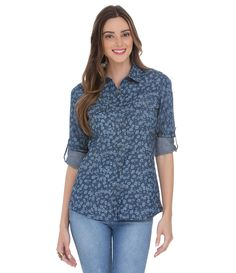 Camisa Feminina em Jeans Floral - Lojas Renner