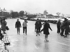 Skating on a frozen Union Canal by Meggetland, February 1956 Edinburgh Scotland, Skating, February, Frozen, Old Things, Street View, Memories, Memoirs, Roller Blading