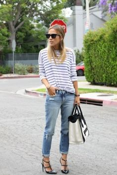 white bag ripped jean | Colorfulland