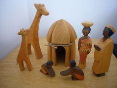 Ostheimer Afrikanische Familie mit Rundhütte und Tieren Holzfiguren