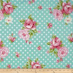 Tissu Rosey Roses and Mums Teal : vente Tissu - CREATEURS ET DESIGNERS Tissu - Tanya Whelan - Bouillon de couture