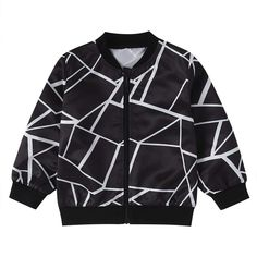 Buy Hopscotch Baby Boy's Geometric Print Regular Jacket (YYX-2821326_Black_9-12 Months) at Amazon.in Patterned Bomber Jacket, Lightweight Jacket, Spandex Material, Windbreaker Jacket, Toddler Boys, Infant Toddler, Kids, Clothes For Sale, Types Of Sleeves