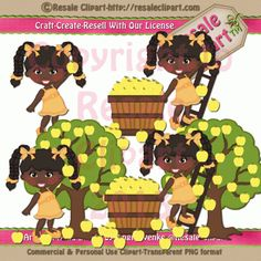 African American #Fall Picking #Girls #Clipart