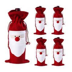 4Pcs Santa Claus Wine Bottle Cover Gift Bags Set Party Hotel Kitchen Table Décor