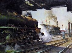 Terence Cuneo Old Steam Train, Train Truck, Steam Railway, Train Times, Train Art, Railway Posters, Old Trains, Holland, Art Uk