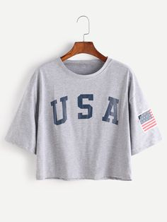 Camiseta con estampado de letra de hombro caído - gris-Spanish SheIn(Sheinside)