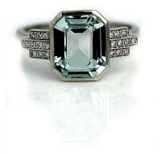 Art Deco Style 3.25 Carat Aquamarine Engagement Ring in Recycled Platinum #weddings