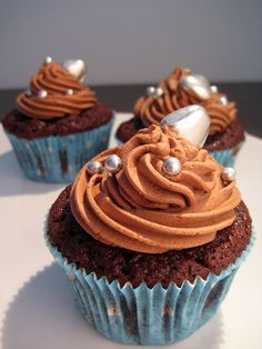 Chocolate cupcakes with chocolate topping