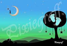 Fond pour photo : au clair de lune garçon