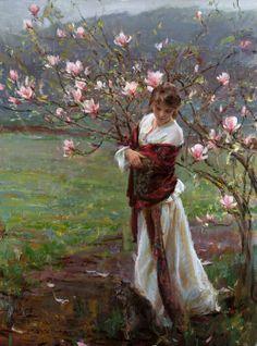 Beneath the pink magnolia