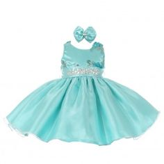 Baby Girls Aqua Floral Sleeveless Sparkle Stone Special Occasion Dress 6-24M