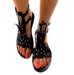 Black leather sandals  #hotfixcrystalls #blacksandals #gladiatorsandals Black Leather Sandals, Black Sandals, Gladiator Sandals, Handmade, Shoes, Fashion, Black Flat Sandals, Moda, Hand Made