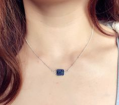 Sterling silver chain with Natural Natural Blue by PureOneJewelry