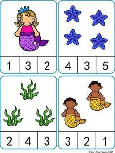 Mermaid Count and Clip Cards Preschool Learning Activities, Preschool Activities, Teaching Kids, Kids Learning, Math Gs, Numbers Preschool, Kindergarten Math Worksheets, Montessori Activities, Tot School