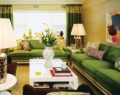 johnathan adler interiors - love the use of the green and gold.