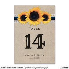 Shop Rustic Sunflower and Navy Blue Table Number Card created by DanielCapPhotography. Chic Wedding, Rustic Wedding, Blue Country Weddings, Table Names, Wedding Table Numbers, Rustic Design, Wedding Decorations, Navy Blue, Cards