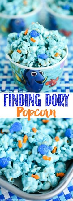 Finding Dory Popcorn – chocolate covered popcorn with mini edible Dory fish sprinkles.(Chocolate Strawberries With Sprinkles) Nemo Y Dory, Chocolate Covered Popcorn, Finding Dory, Kids Meals, Sweet Treats, Yummy Food, Chips, Popcorn Snacks, Flavored Popcorn