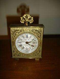 VINTAGE RARE Brass Bedside Travel Wind Up Alarm Clock Germany Filagree WORKS