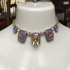 Betsey Johnson Purple Elephant Statement Necklace GORGEOUS! Brand New with tags- Gorgeous betsey johnson elephant necklace. Has purple stones with gold hardware and in the stones there is an elephant and flowers. Retail $150 Betsey Johnson Jewelry Necklaces