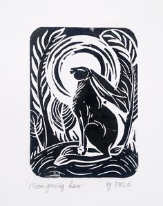 Original linocut print 'Moon gazing hare', hand carved and hand pulled finer art, wild life art, hares and rabbits