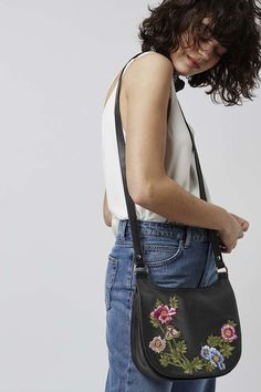 Photo 2 of Floral Leather Saddle Bag
