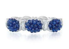 Cellini Jewelers Blue Sapphire Briolette Bangle with Rose Cut Diamonds