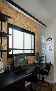 Pourquoi si on a de l'osb ? Home Office Space, Home Office Decor, Home Decor, Office Interior Design, Office Interiors, Chipboard Interior, Osb Wood, Interior Design Living Room, Interior Architecture