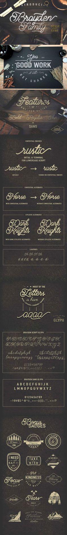 Brayden - a new vintage-style script font.: